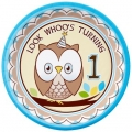 Owl turning 1 Blue Dinner Plates 